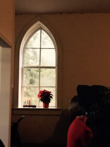 Poinsettia in the Stone Church Window